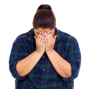 unhappy overweight girl crying